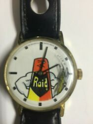Rare Vintage Raid Hand-wound Watch With Spray Can And A Bug For A Second Hand