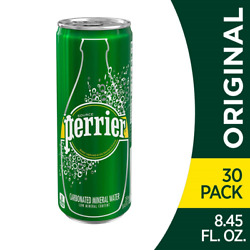 Perrier Carbonated Mineral Water Slim Cans 8.45 Fl Oz Pack Of 30