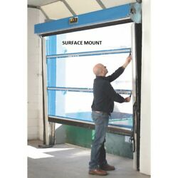 New Spring-loaded Roll-up Screen Door For 8 X 9 Opening Surface Mount - Blue