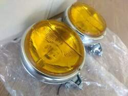 Vintage Car Fog Lights Pair Landr Side For Retro And Classic Cars Newyellow