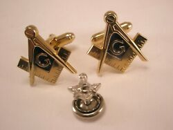 -masons Vintage Anson Cuff Links And Screw Back Tie Tack Scottish Rite Shriners