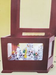 New Mr. Christmas Crystal Showcase Music Box Snowman Gold Label Plays 50 Songs