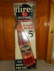Vintage 1940s Tin 5 Cent Hires Root Beer Soda Pop Advertising Vertical Sign