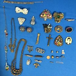 Antique Vintage Art Deco 20and039s 30and039s Jewelry Lot Pins Rhinestones Spirit St Louis