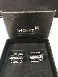 Mont Blanc Cufflinks Cuff Links Read Mont Blanc Across Front Silver Tone
