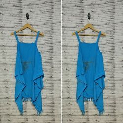 Tropical Bank Beach Cover Up Turquoise One Size Swim Cover U Casual Summer Beach