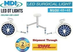 Common Arm Operating Light Twin Cold Led Surgical Lamp For Ot Room 48+48 Light