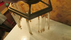 Antique Brass Light Shade Glass Tubes And Beads Parts