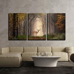 Wall26 - 3 Piece Canvas Wall Art - Fallow Deer Standing In A Dreamy Misty Forest