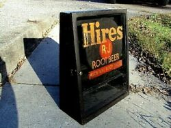 Rare Early 1900s Hires Root Beer Extract Cabinet Antique Countertop Soda Sign