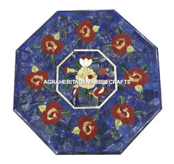 Marble Dining Coffee Table Top Flower Lapis Lazuli Marquetry Inlaid Decor H468