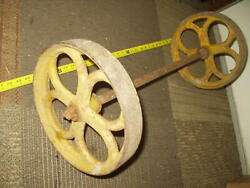 Vintage Cast Iron 12 Wheels And Axle For An Antique Hit And Miss Gas Engine Steam