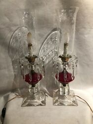 Victorian Pr Glass Etched Flower Cranberry Clear Hurricane Lamps W/ Prisms 21