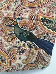 Clarence House Vintage Bird Pheasant Peacock Fabric Pillow Covers Set Of 2 Italy