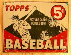 Topps Baseball Tin Metal Sign Vintage Style Picture Cards Bubble Gum Bat Ball