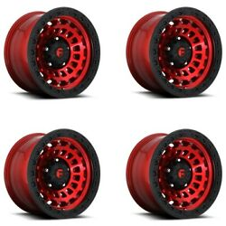 Set 4 18 Fuel D632 Zephyr 18x9 Candy Red Black Ring 6x5.5 -12mm Truck Wheels