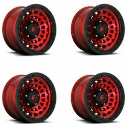 Set 4 20 Fuel D632 Zephyr 20x10 Candy Red Black Ring 8x6.5 -18mm Truck Wheels