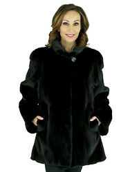 Woman's Black Sheared Mink Fur Jacket Reversing to Rain Fabric