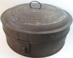 Antique 1800's Old Round Tin Hinged Pantry Spice Box With Spice Tins