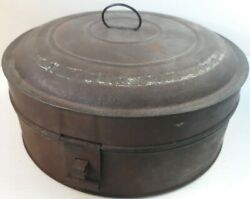 Antique 1800and039s Old Round Tin Hinged Pantry Spice Box With Spice Tins