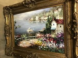 Big Oil Painting Of Sail Boat