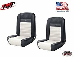 Full Set Deluxe Pony Seat Upholstery Mustang Fastback, Front/rear, Black And White