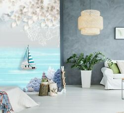 3d Blue Boat Leaves 09rai Wallpaper Mural Self-adhesive Removable Sticker Amy