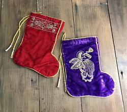 Vintage Red And Purple Silk Viscose Velvet Christmas Holiday Stockings - A Pair