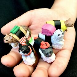 SUSHI CAT FIGURINE TOY 5 Complete Set No Box