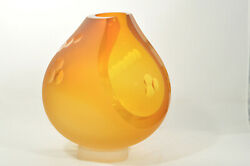 Andrew Shea Art Glass Amber Vase With Dotted Line Open Hand Blown New