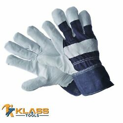 Full Hand Leather Working Gloves W/denim Cuff Patch Palm Size Osfm 60 Pairs