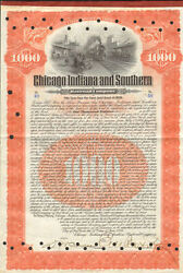 Chicago Indiana And Southern Railroad 1906 1,000 Gold Bond Certificate