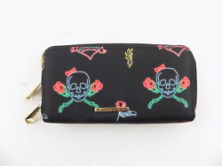 Rampage Black Clutch Women#x27;s Wallet Double Zip Skull Roses Pattern $20.76