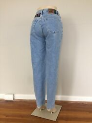 vtg 90s Pepe Light Wash Mom Jeans women's size 29x31 high waisted patches 1985