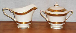 Discontinued Royal Worcester Coronet Pattern Covered Sugar And Creamer Set Mint