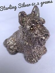 Sterling Silver Scottish Terrier Key Ring 61.5 Grams marked 925