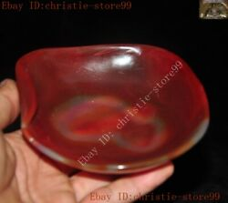 China Dynasty Palace Natural Red Agate Onyx Hand Carved Pen Wash Ashtray Statue