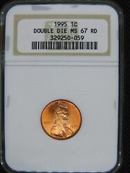 1995 1c Double Die Obverse Lincoln Cent Ngc Ms 67 Awesome Quality