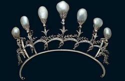 14k Yellow Gold Over 925 Sterling Silver Cz Vintage Style Baroque Pearl Tiara