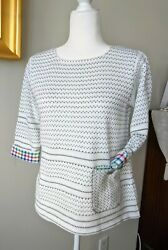 Nwt Margaret Winters Cotton Boat Neck Knit Sweater Gingham Usa Large 149