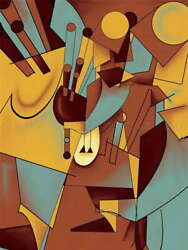 115478 Digital Graphic Abstract Cubism Cubist Ce Gift Decor Laminated Poster Us