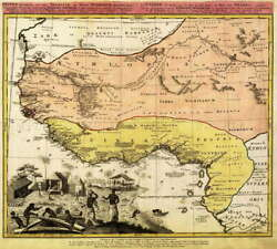 116146 Map Antique Homann 1743 West African Coast Old Decor Laminated Poster Us