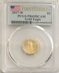 2017 -w Gold 5 1/10 American Eagle Pcgs Proof 69 Dcam First Strike Rare Pop 45