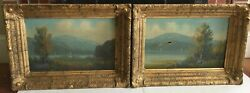 19thc Hudson River On Canvas Paintings Highly Detailed Gold Gilt Frames Pair
