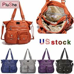 ANGELKISS Women Vintage Soft Washed Leather Handbags Hobo Brand Shoulder Bags $25.99