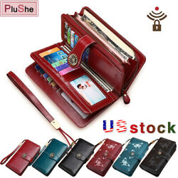 SENDEFN 100% Genuine Leather RFID Protection Wallets Large Capacity Long Purse $29.99