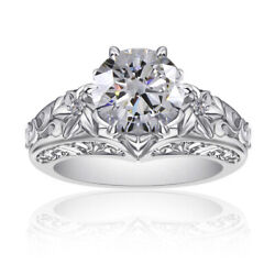Round Simulated Diamond Solitaire Vintage Ring 14k White Gold