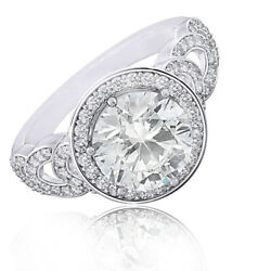 Round Simulated Diamond Solitaire With Accents Wedding Band Ring 14k White Gold