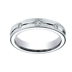 0.32 Ct Round Cut Natural Diamond 6mm Comfort Fit 18k White Gold Band Ring Sz-8