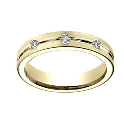 0.32 Ct Natural Diamond 6mm Comfort Fit 14k Yellow Gold Band Ring Sz-12